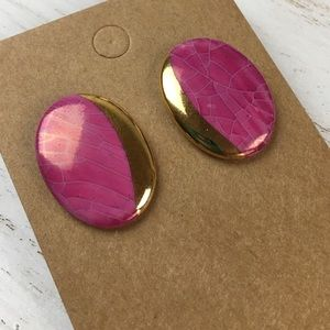 Vintage Pink and Gold Oval Shaped Stud Earrings